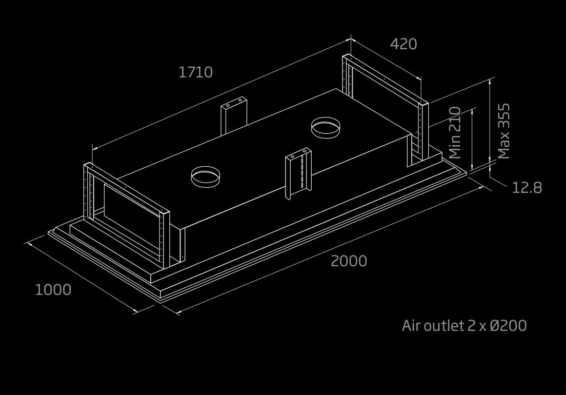 schweigen ceiling cassette rangehood 2000mm