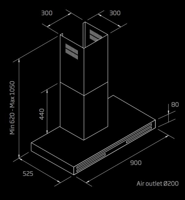 schweigen wallmount rangehood 900mm
