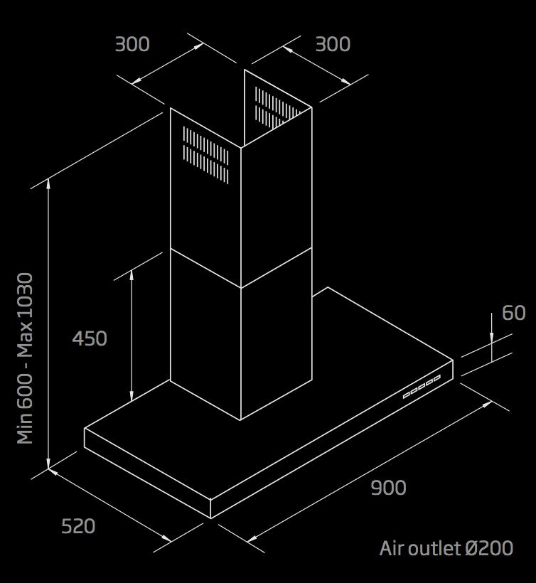 Schweigen 90cm wallmount rangehood